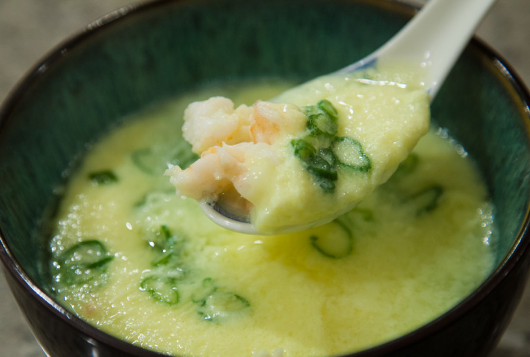 Egg Pudding Recipe - Finished with shrimp