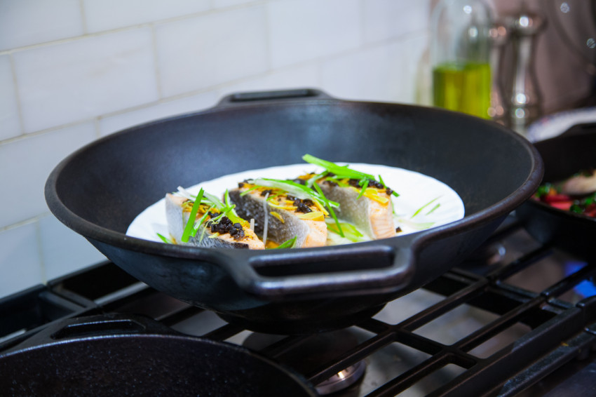 Salmon with Black Bean Sauce - Cooking