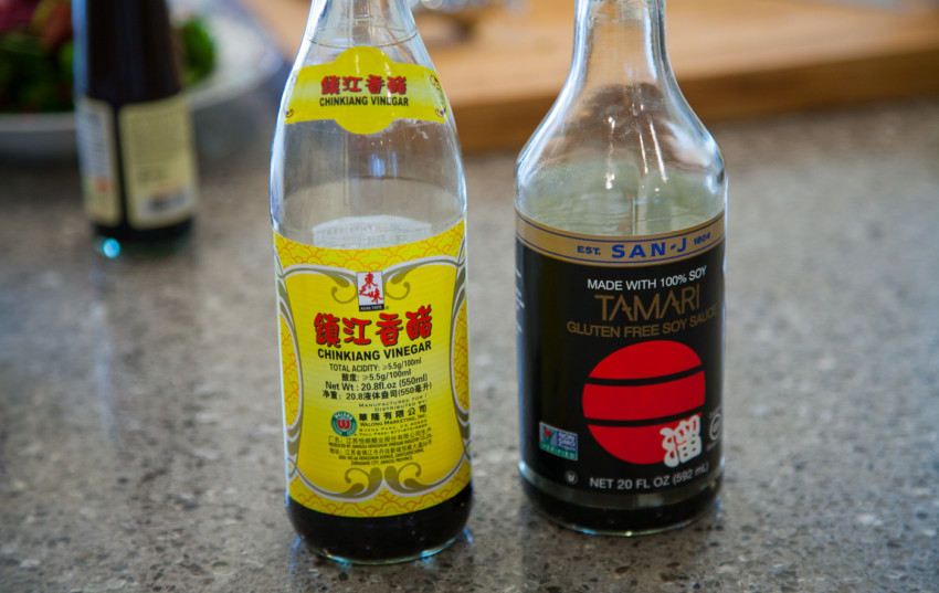 San-J gluten free soy sauce and Chinkiang Vinegar (镇江香醋)