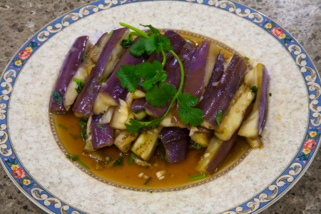 Chinese Steamed Eggplant With Garlic (蒜泥茄子) - Completed Dish