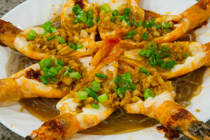 Steamed Garlic Butterfly Shrimp/Prawns with Vermicelli - Completed