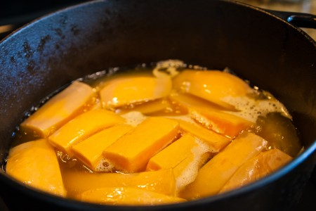 Garlic Butternut Squash - Cooking