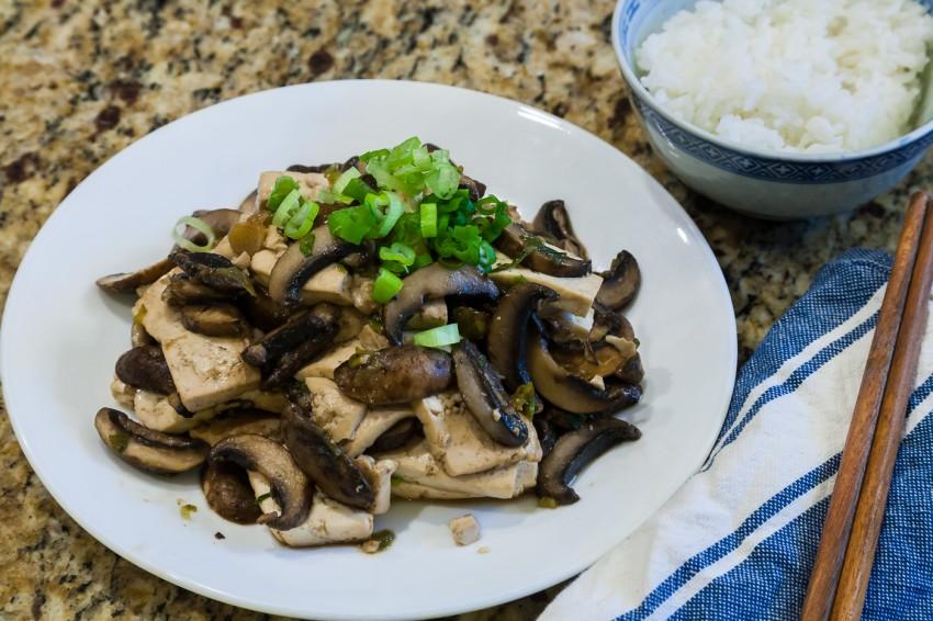 Mushroom Tofu Stir Fry - Completed Dish