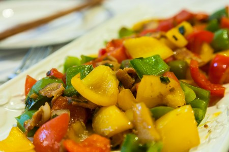 Bell Peppers and Bacon Stir Fry - Completed Dish
