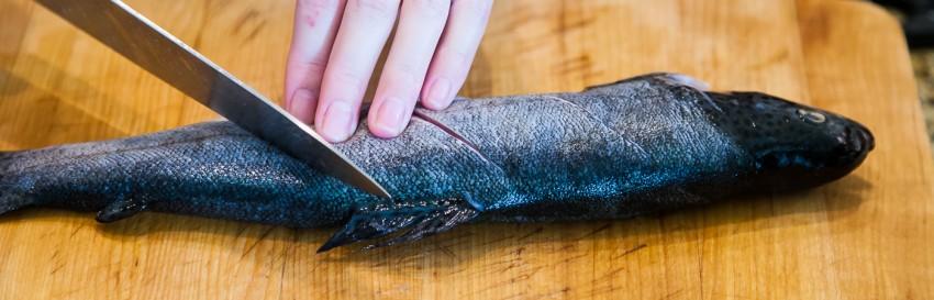creamy fish soup - slicing fish