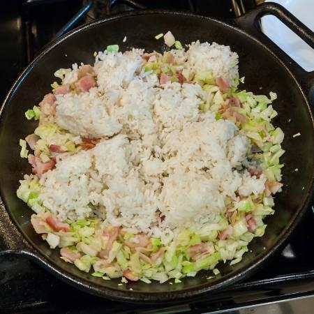 Cabbage Bacon Garlic Fried Rice - Preparation