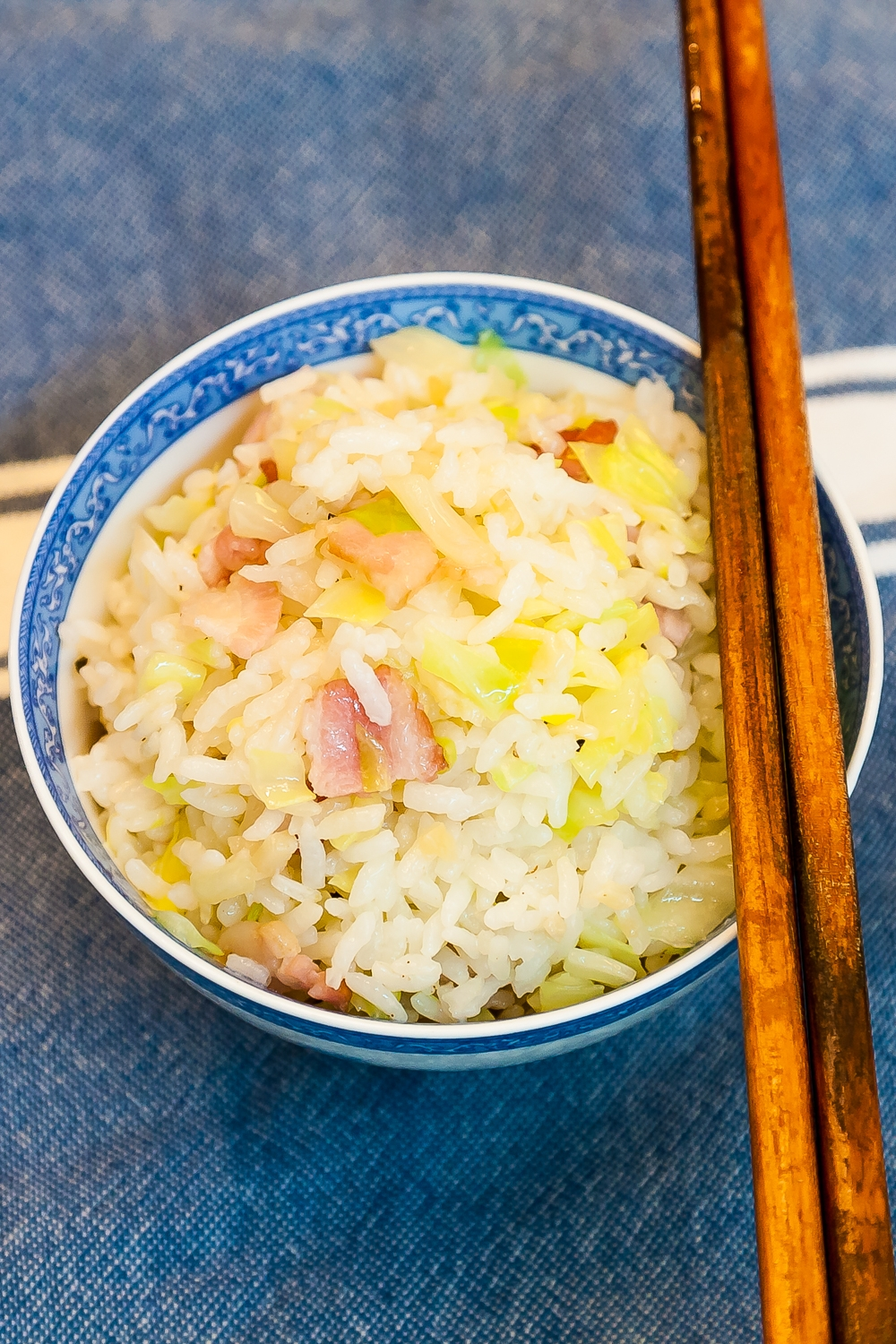 Cabbage Bacon Garlic Fried Rice - Completed Dish