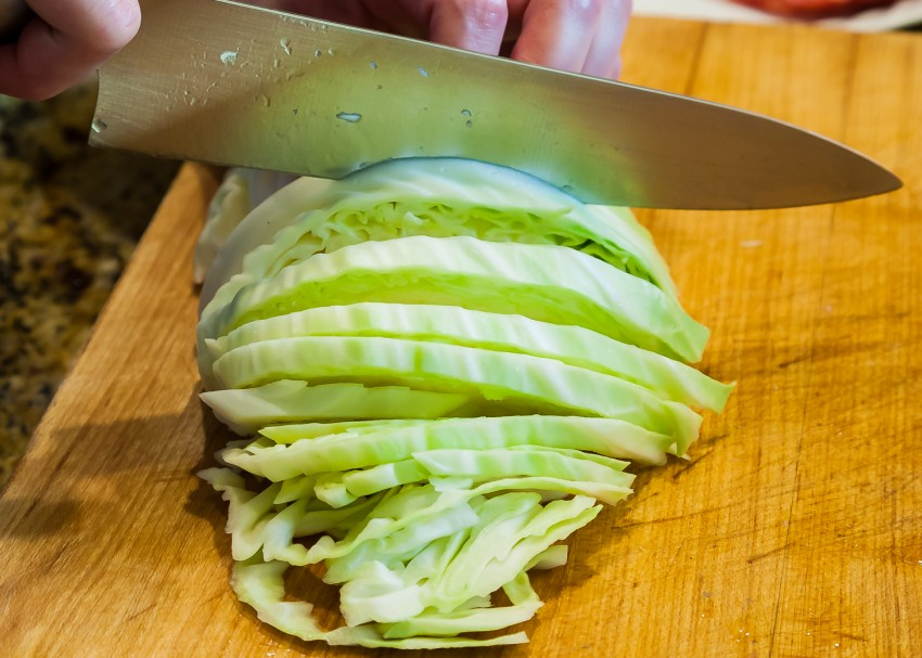 Cabbage Bacon Garlic Fried Rice - Chopping Cabbage