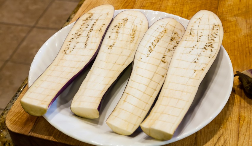 Spicy Garlic Eggplant - Sliced Eggplants