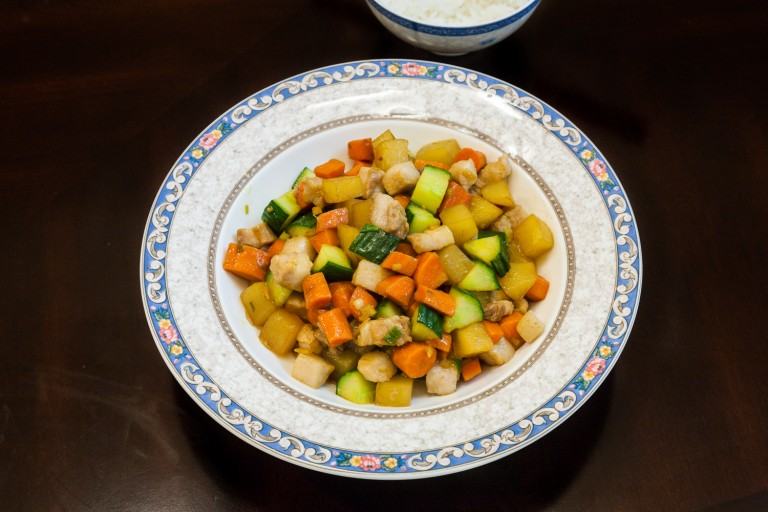 Stir Fried Diced Meat and Three Vegetables - Completed Dish