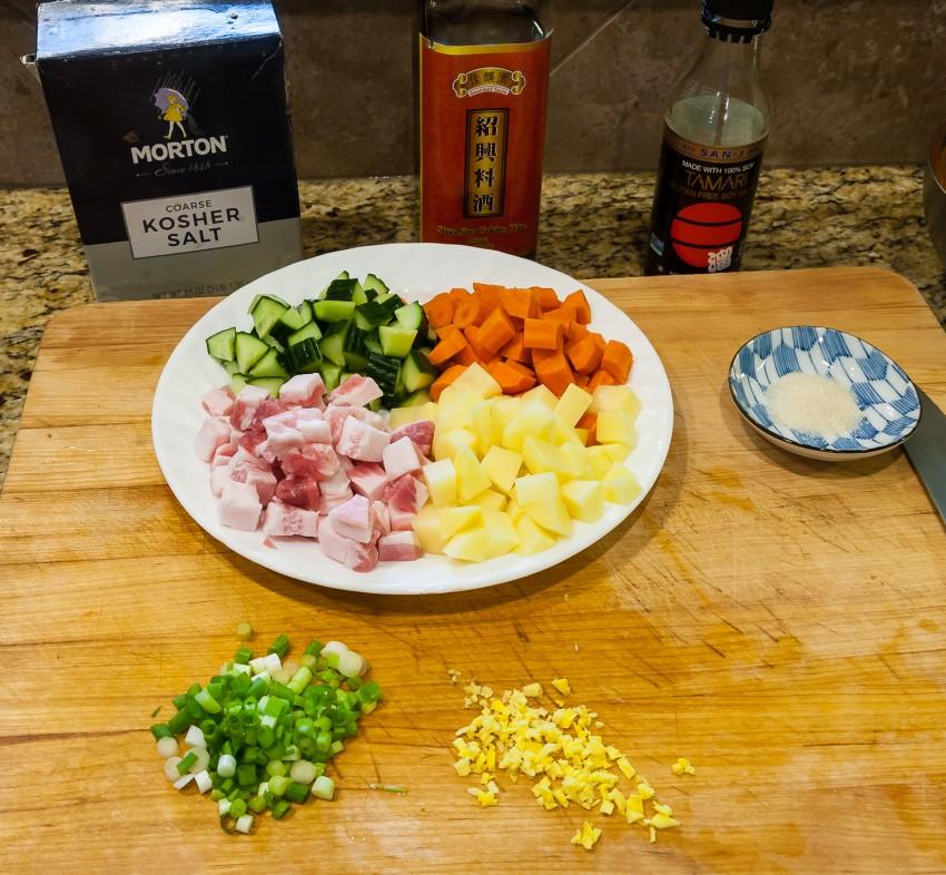 Stir Fried Diced Meat and Three Vegetables - Ingredients
