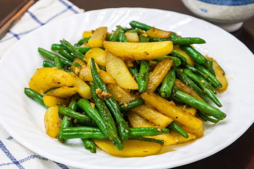 Sauteed Green Beans with Potatoes - Completed Dish