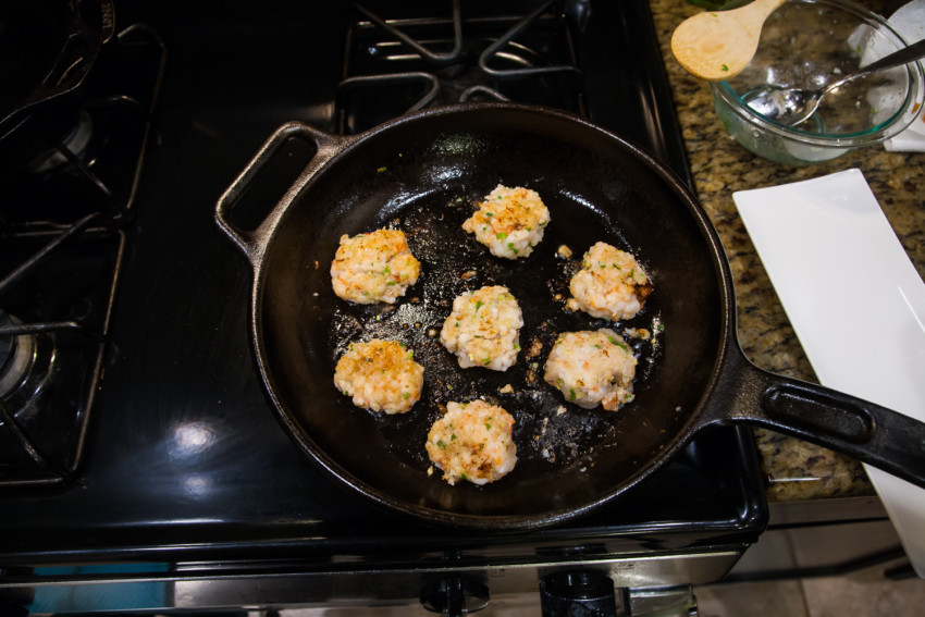 Shrimp Cakes - Frying