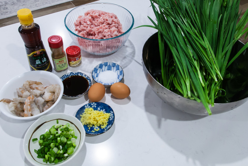Chinese Pork, Leek, and Shrimp Dumplings and Pot Stickers - Ingredients