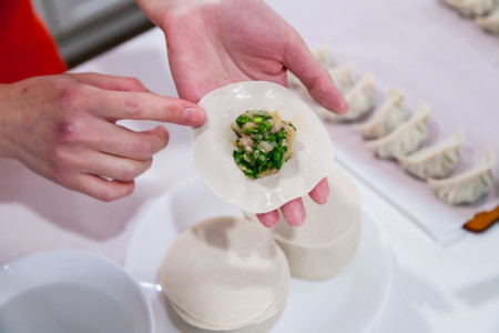 Chinese Pork, Leek, and Shrimp Dumplings and Pot Stickers - Folding Dumplings
