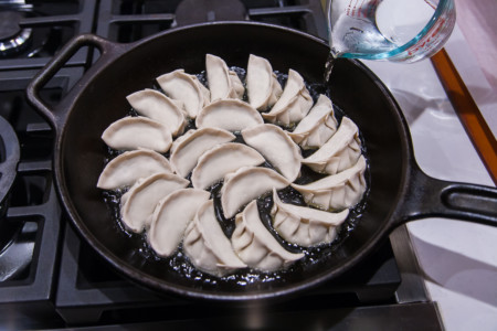 Chinese Pork, Leek, and Shrimp Dumplings and Pot Stickers - Making Pot Stickers