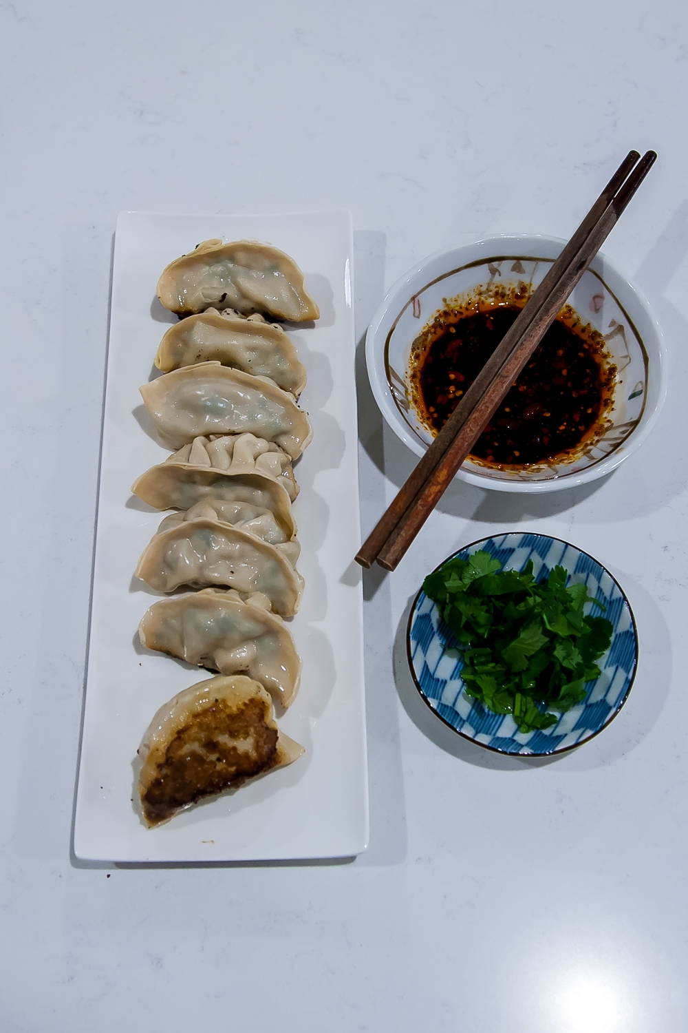 Chinese Pork, Leek, and Shrimp Dumplings and Pot Stickers - Completed Pot Stickers