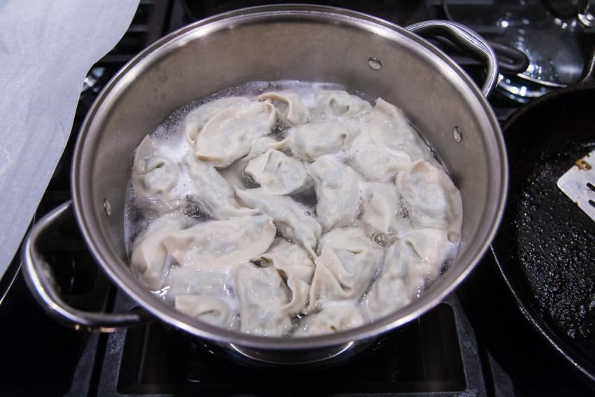 Chinese Pork, Leek, and Shrimp Dumplings and Pot Stickers - Boiling Dumplings