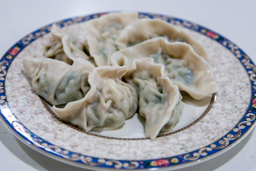 Chinese Pork, Leek, and Shrimp Dumplings and Pot Stickers - Completed Boiled Dumplings