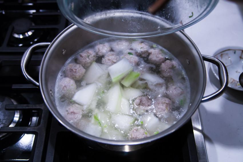 Winter Melon Meatball Soup - Soup Preparation