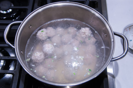 Winter Melon Meatball Soup - Boiling Meatballs