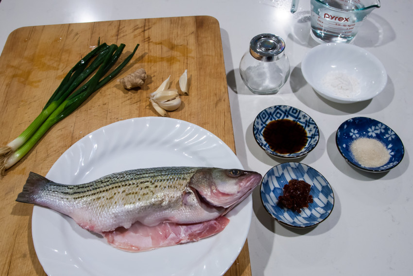 Chili Bean Whole Fish (Striped Bass) - Ingredients