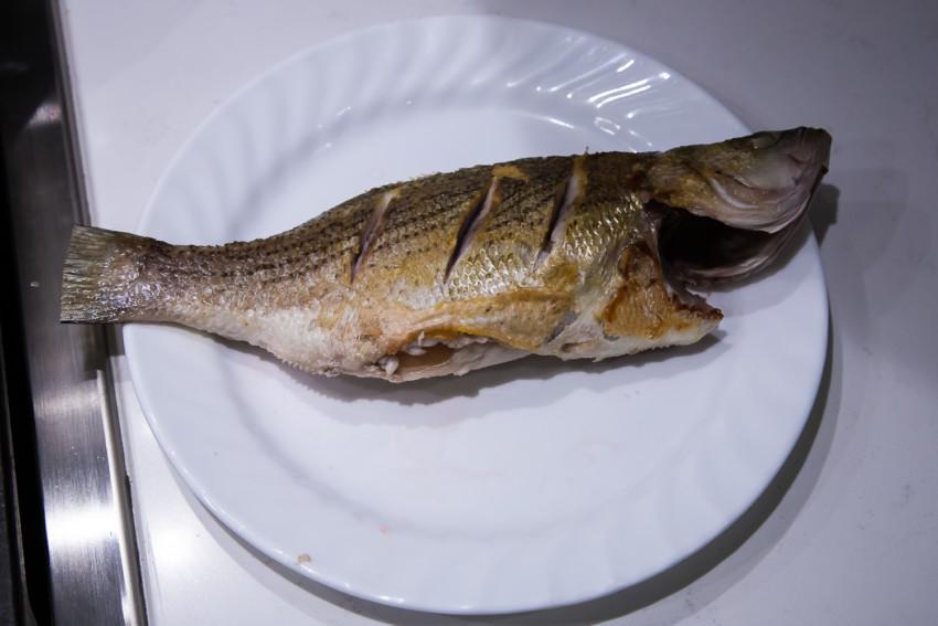 Chili Bean Whole Fish (Striped Bass) - Pan Fried