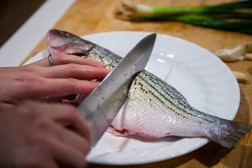 Chili Bean Whole Fish (Striped Bass) - Preparing Fish