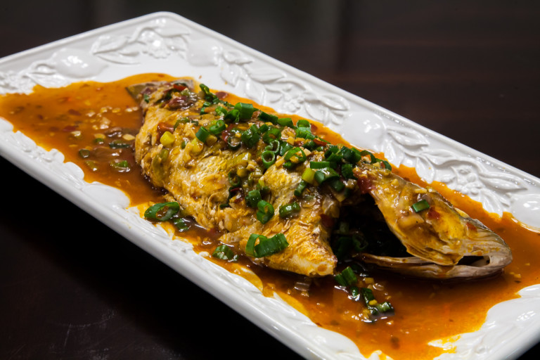 Chili Bean Whole Fish (Striped Bass) - Completed Dish