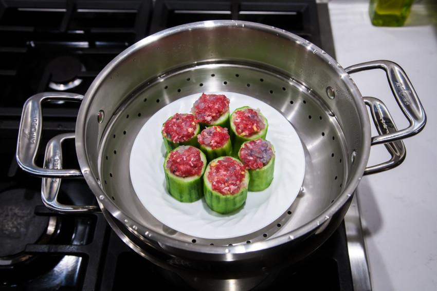Stuffed Cucumber - Steaming