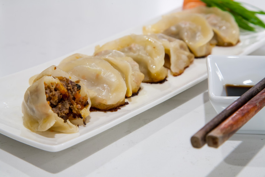 Beef dumplings with carrots and onions - completed dish
