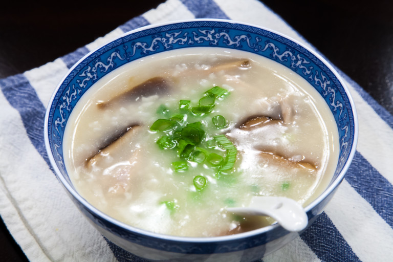 Mushroom Chicken Congee Using Instant Pot - Completed Dish