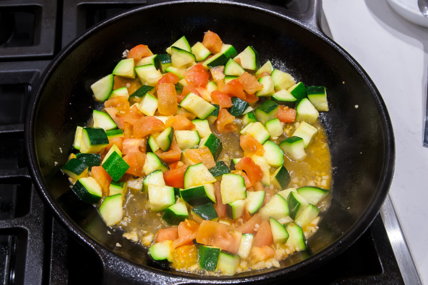 Zucchini with Tomatoes - Sauteeing