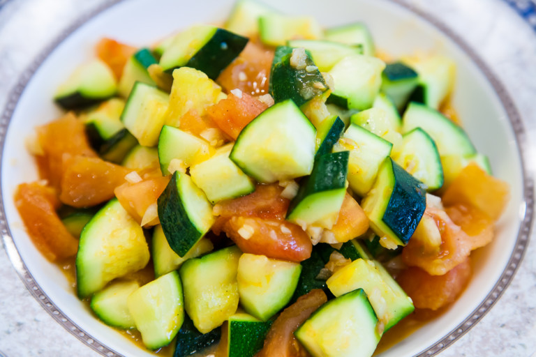 Zucchini with Tomatoes - Completed Dish