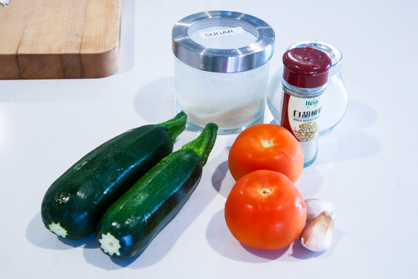 Zucchini with Tomatoes - Ingredients