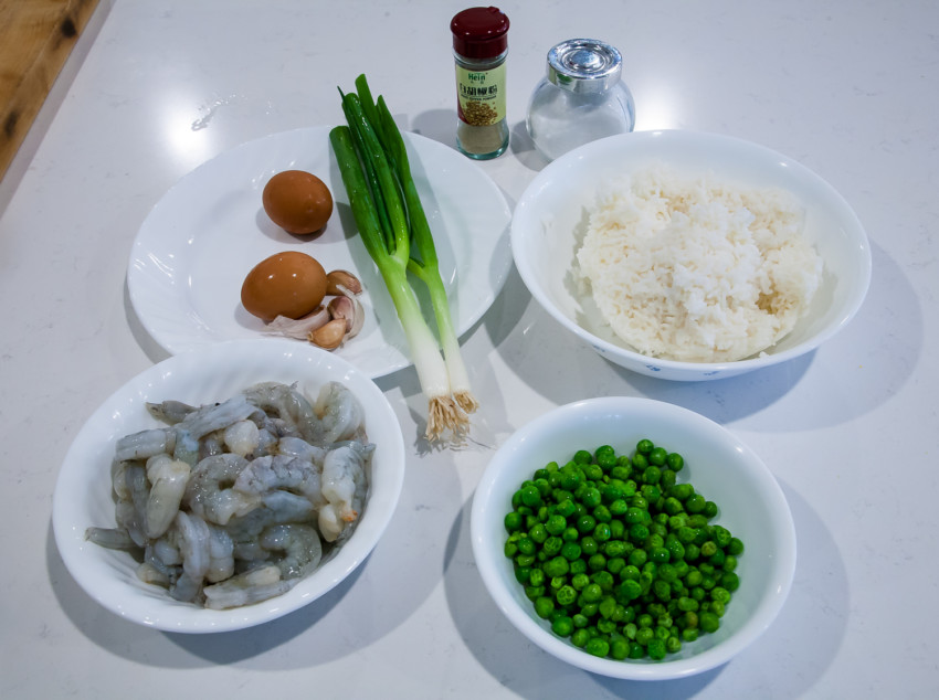 Shrimp Fried Rice with Peas and Eggs - Ingredients