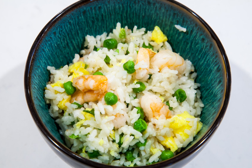Shrimp Fried Rice with Peas and Eggs - Completed Dish