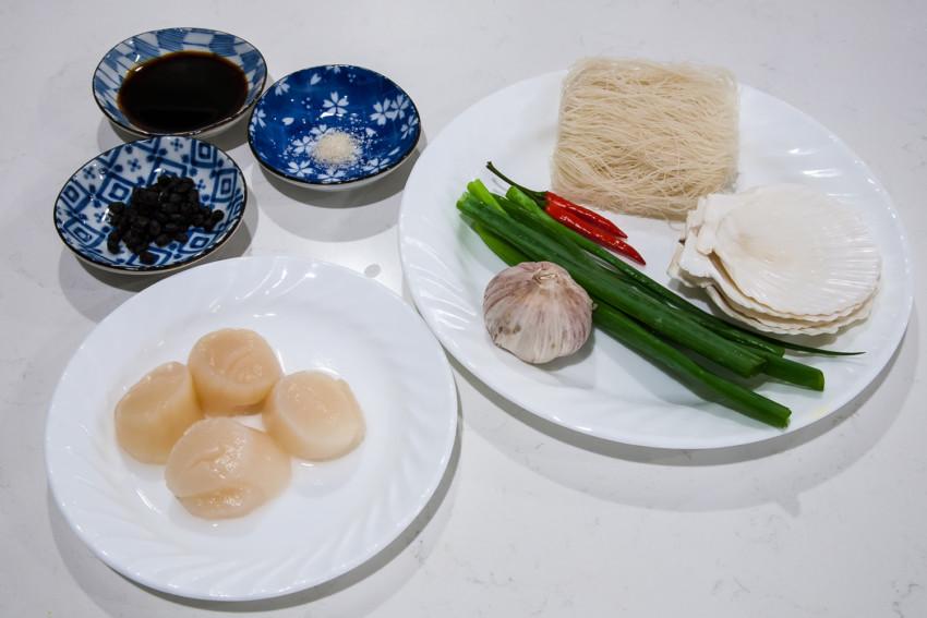 Steam Garlic Scallops with Vermicelli - ingredients