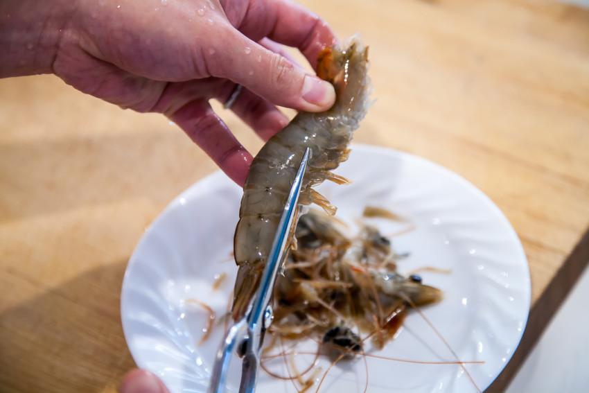 Salt Water Shrimp - preparing shrimp