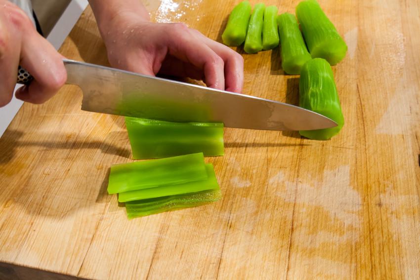 Stem Lettuce Salad - Chopping