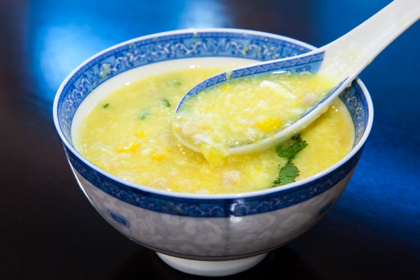 Chicken Corn Egg Drop Soup - completed dish