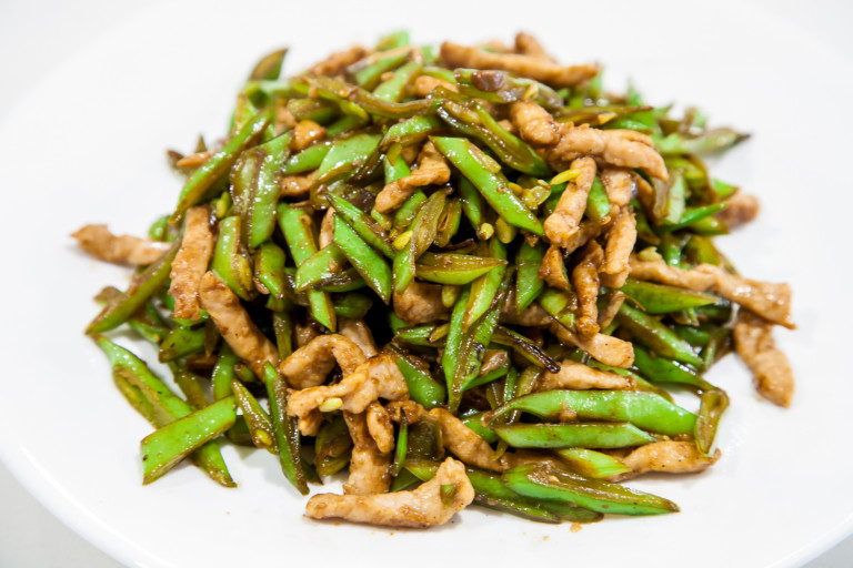Green Beans with Pork Julienne - completed dish