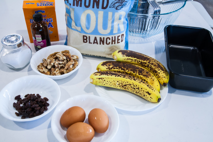 Almond Flour Banana Bread with Walnuts and Raisins - Ingredients