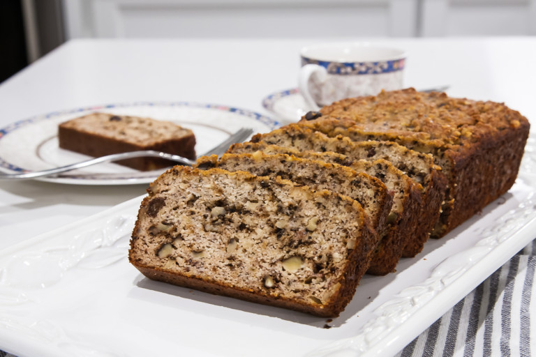 Almond Flour Banana Bread with Walnuts and Raisins - Completed Dish