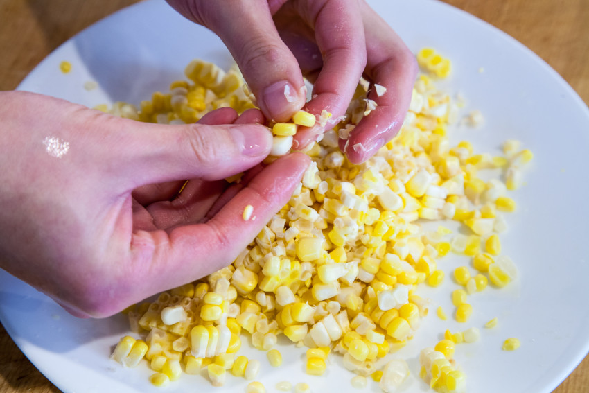 Chicken Corn Pine Nut Lettuce Wrap - Preparation