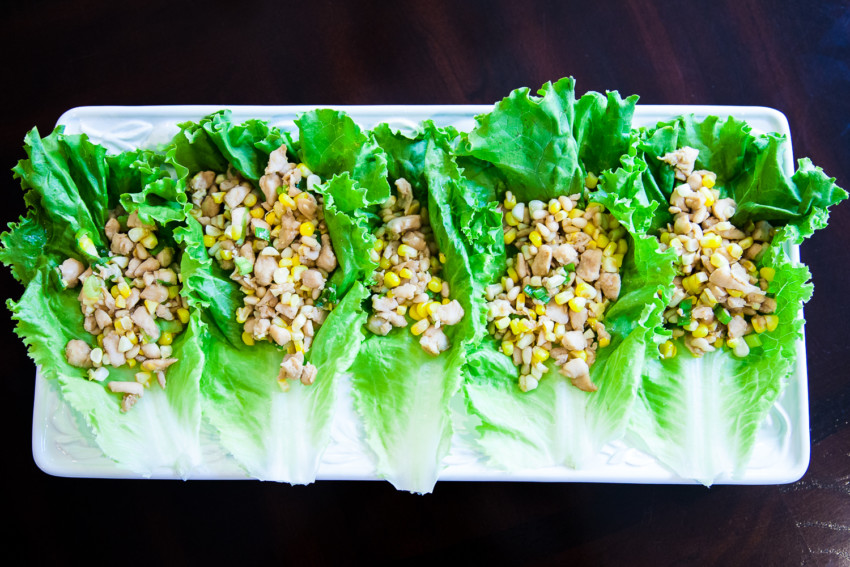 Chicken Corn Pine Nut Lettuce Wrap - Completed Dish