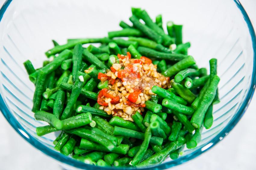 Chinese Long Bean Salad - mixing dressing