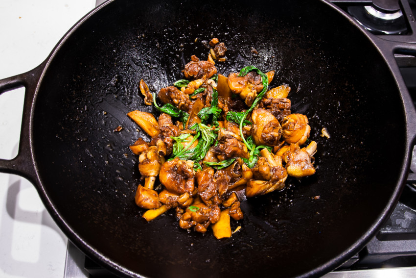 Taiwanese Three Cup Chicken - Cooking