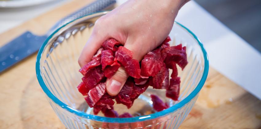 Pepper Beef - marinating beef