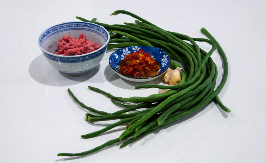 Chinese Long Beans with Pickled Chili Peppers - Ingredients